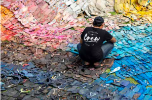 Working on the installation 5000 lost soles at Potatohead beach Club, 2018, Bali, Indonesia